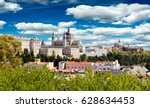 madrid skyline with the royal... | Shutterstock . vector #628634453