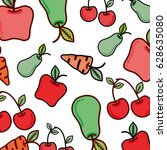 delicious healthy fruits and... | Shutterstock .eps vector #628635080