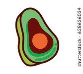 green delicious avocado healthy ... | Shutterstock .eps vector #628636034
