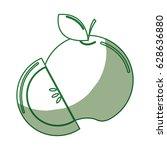 silhouette delicious apple... | Shutterstock .eps vector #628636880