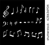 a vector set of music notes and ... | Shutterstock .eps vector #628636934