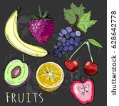 hand drawn tasty colorful... | Shutterstock .eps vector #628642778