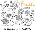 hand drawn graphic fruits.... | Shutterstock .eps vector #628642784
