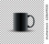 realistic black ceramic cup on... | Shutterstock .eps vector #628649030