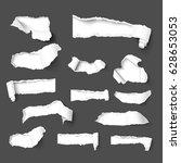 set of holes in dark gray paper ... | Shutterstock .eps vector #628653053