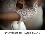 white lace sleeve girl handmade ... | Shutterstock . vector #628656143