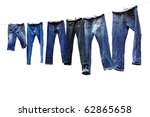 Stock photo jeans on a clothesline to dry 62865658