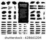 Painted grunge stripes set. Black  labels, background, paint texture. Brush strokes vector. Handmade design elements. | Shutterstock vector #628661204