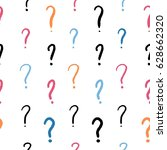 question marks   hand written... | Shutterstock .eps vector #628662320