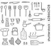 kitchenware icons vector set....   Shutterstock .eps vector #628662428