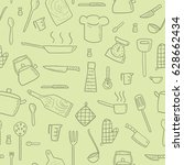 cooking utensils and kitchen...   Shutterstock .eps vector #628662434
