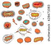 hand drawn set of speech... | Shutterstock .eps vector #628671083