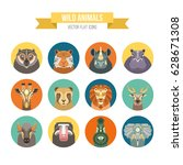 collection of african animals... | Shutterstock .eps vector #628671308
