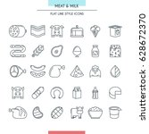 meat and milk thin line icons... | Shutterstock .eps vector #628672370