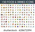food and drinks flat line icons ... | Shutterstock .eps vector #628672394