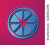 fruits lemon sign. vector. blue ... | Shutterstock .eps vector #628681358