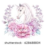 watercolor floral frame with a... | Shutterstock . vector #628688834