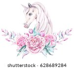 watercolor floral frame with a... | Shutterstock . vector #628689284