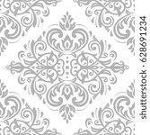 damask classic silver pattern.... | Shutterstock . vector #628691234
