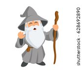 wizard wearing a hat and a long ... | Shutterstock .eps vector #628692890