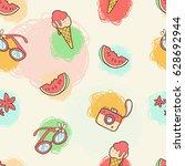 vector seamless summer pattern. ...   Shutterstock .eps vector #628692944