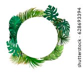 tropical palm leaves set  drawn ... | Shutterstock .eps vector #628693394