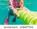 funny child wearing diver mask... | Shutterstock . vector #628697354