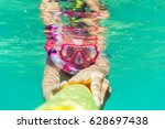 funny child wearing diver mask... | Shutterstock . vector #628697438