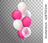 bunch of balloons isolated. ... | Shutterstock .eps vector #628705244