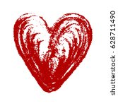 isolated red hand drawn heart... | Shutterstock .eps vector #628711490