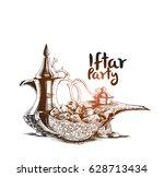 ramadan kareem iftar party... | Shutterstock .eps vector #628713434
