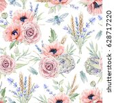 watercolor seamless pattern... | Shutterstock . vector #628717220