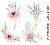 watercolor vintage floral set.... | Shutterstock . vector #628717364