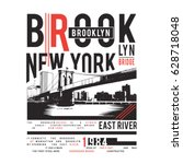 brooklyn bridge illustration  ... | Shutterstock .eps vector #628718048