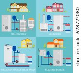 types of heating systems. set... | Shutterstock .eps vector #628722080
