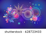 fireworks and celebration... | Shutterstock .eps vector #628723433