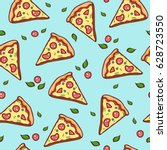 hand draw pizza. doodle pizza... | Shutterstock .eps vector #628723550