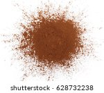 pile cocoa powder isolated on... | Shutterstock . vector #628732238