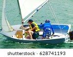 children having fun sailing... | Shutterstock . vector #628741193