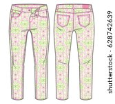 front and back view of pants.... | Shutterstock .eps vector #628742639