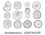 tree rings vector line graphic... | Shutterstock .eps vector #628744100