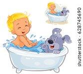 vector illustration of a little ... | Shutterstock .eps vector #628745690