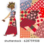 abstract fashion girl model ... | Shutterstock .eps vector #628759508
