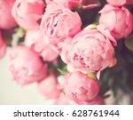 vintage pink peonies in a...   Shutterstock . vector #628761944