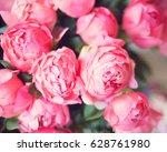 vintage pink peonies in a...   Shutterstock . vector #628761980