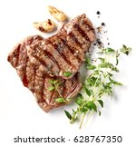grilled beef steak isolated on... | Shutterstock . vector #628767350