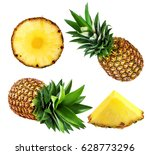 pineapple isolated on white... | Shutterstock . vector #628773296