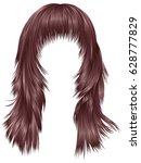 trendy woman long hairs pink... | Shutterstock .eps vector #628777829