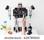 stem education. chalk on a... | Shutterstock . vector #628780064