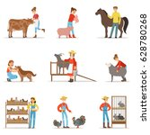 breeding animals farmland. farm ... | Shutterstock .eps vector #628780268